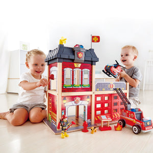 Hape Fire Station imaginative play quality wooden toys The Toy Wagon