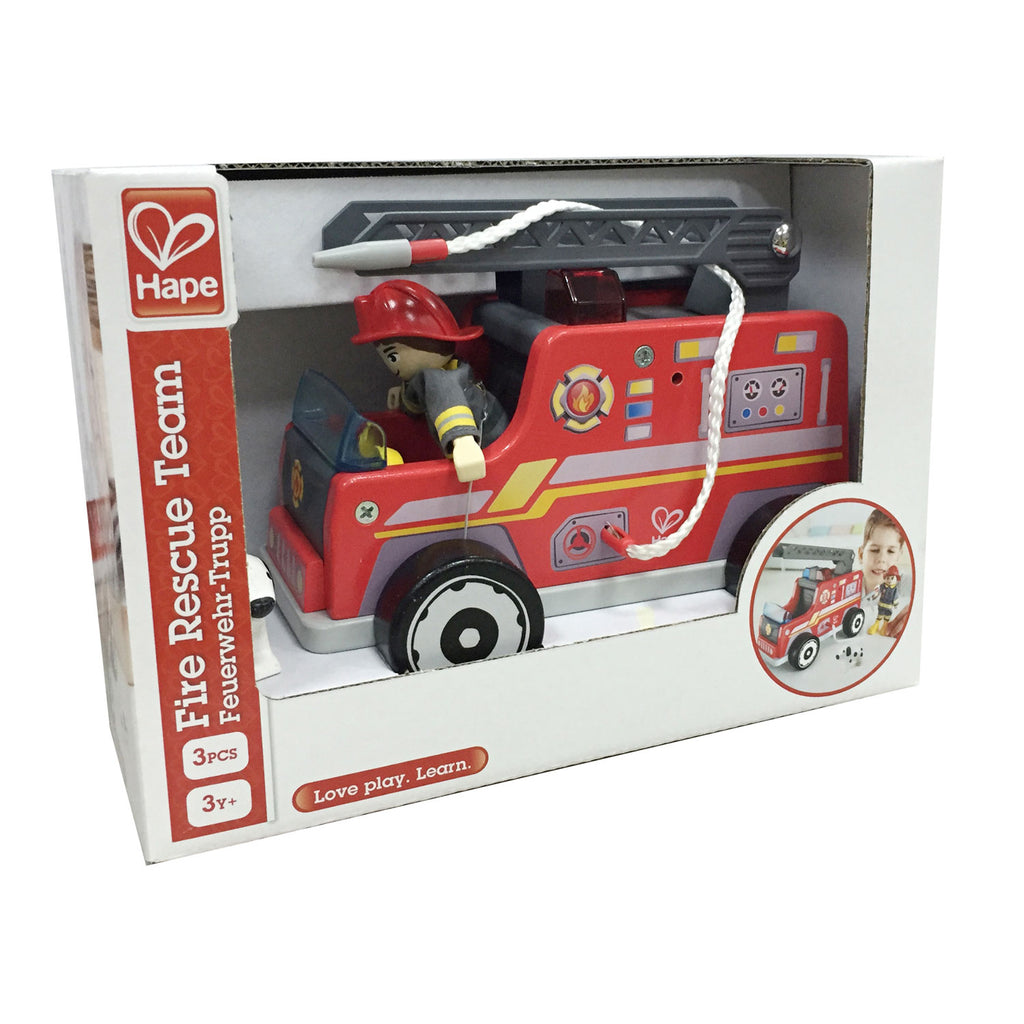 Hape Fire Truck imaginative play quality wooden toys The Toy Wagon