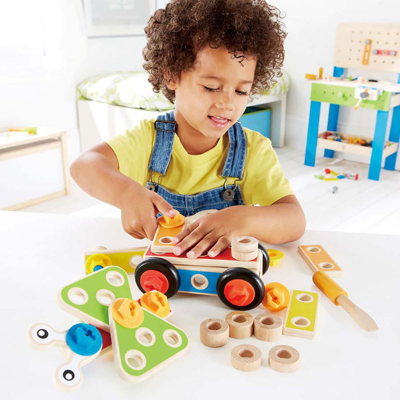 Hape Basic Builder Set imaginative play quality wooden toys The Toy Wagon