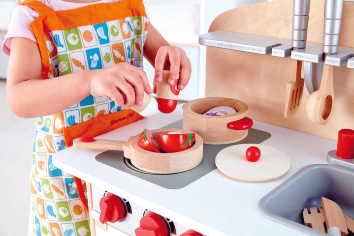 Hape Cook & Serve Set imaginative play quality wooden toys The Toy Wagon