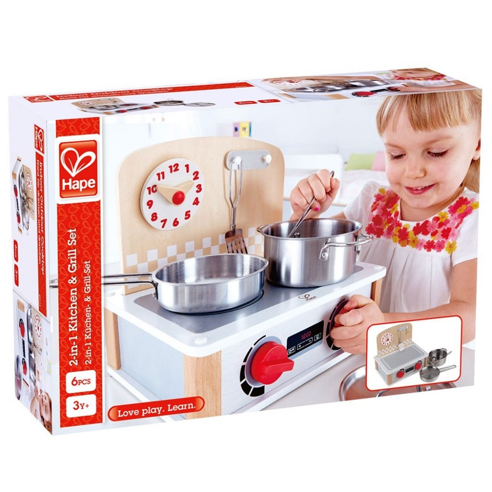 Hape 2-in-1 Kitchen & Grill Set imaginative play quality wooden toys The Toy Wagon