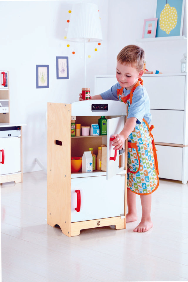 Hape White Fridge-Freezer imaginative play quality wooden toys The Toy Wagon