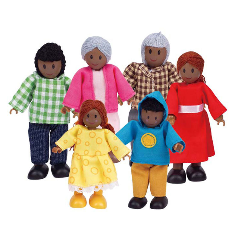 Hape Happy Family of 6 - African American imaginative play quality wooden toys The Toy Wagon