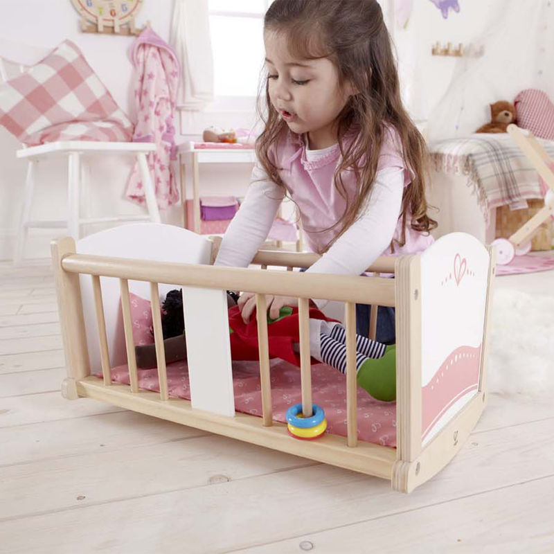 Hape Rock-A-Bye Cradle imaginative play with quality wooden toys The Toy Wagon