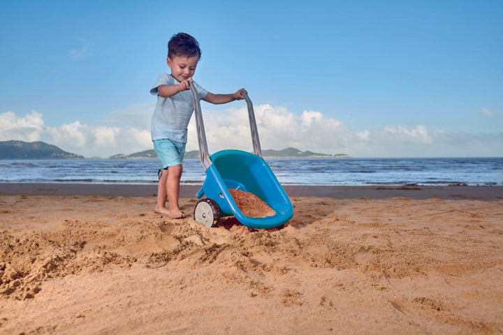 Hape Beach Barrow - Blue perfect for the sand or backyard play with quality outdoor toys The Toy Wagon