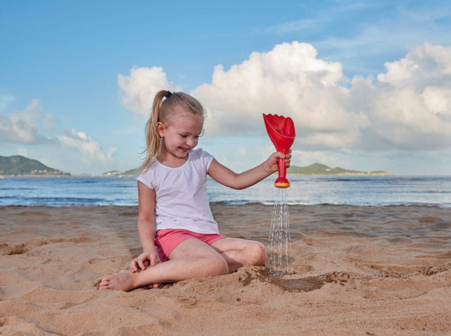 Hape Rain Shovel - Red perfect for the sand or backyard play with quality outdoor toys The Toy Wagon
