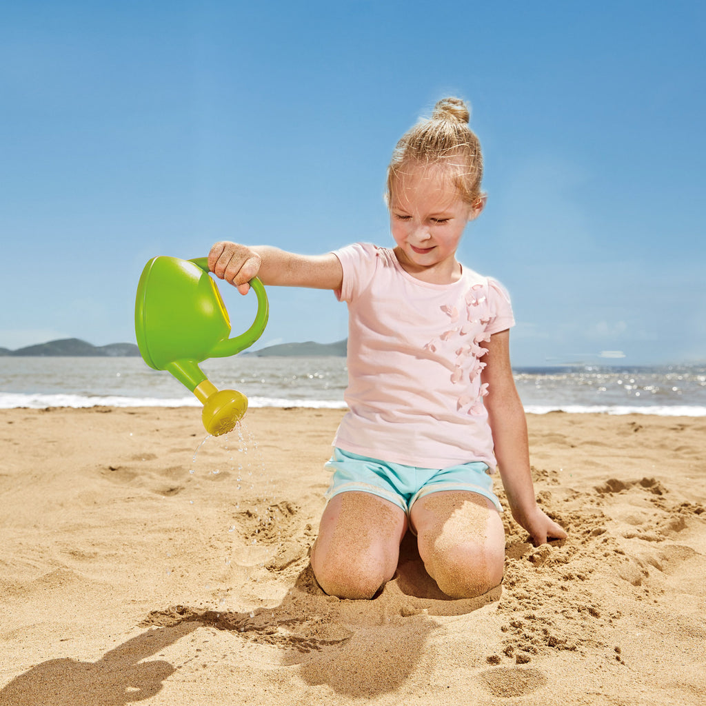 Hape Watering Can - Green perfect for the sand or backyard play with quality outdoor toys The Toy Wagon