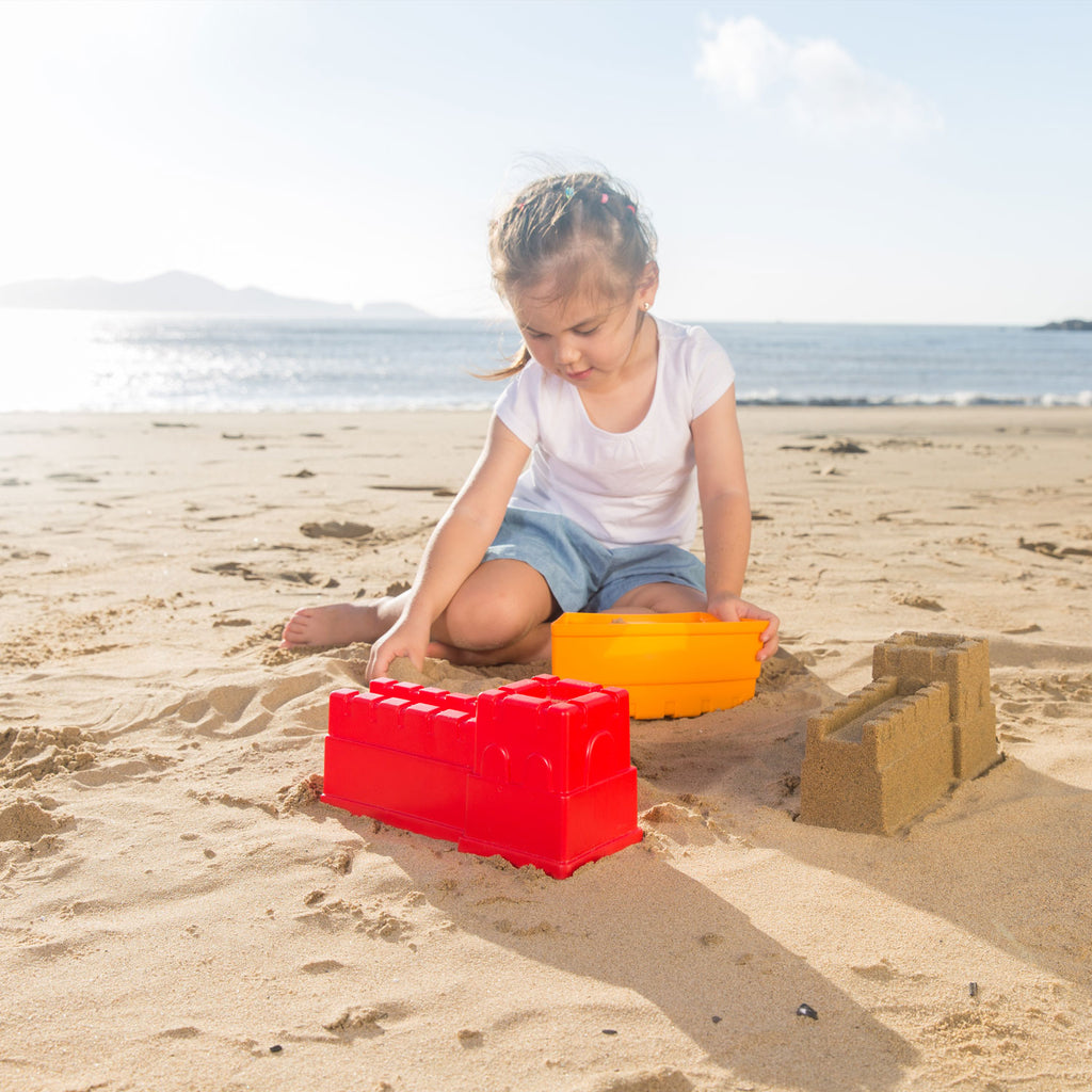 Hape Great Castle Walls perfect for the sand or backyard play with quality outdoor toys The Toy Wagon