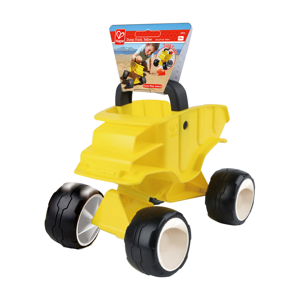 Hape Dump Truck - Yellow perfect for the sand or backyard play with quality outdoor toys The Toy Wagon