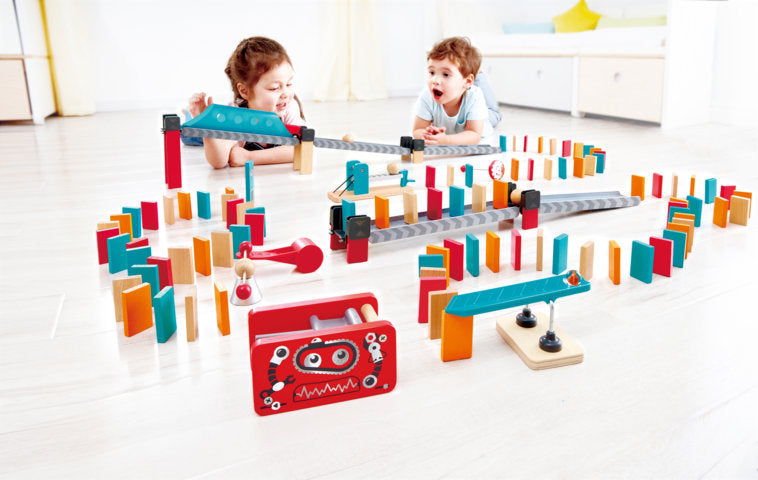 Hape Robot Factory Domino perfect for little minds and hand, educational and high quality wooden toys The Toy Wagon