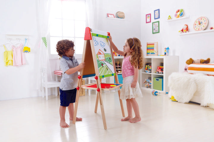 Hape All-in-1 Easel arts, craft and creative play and educational wooden toys The Toy Wagon
