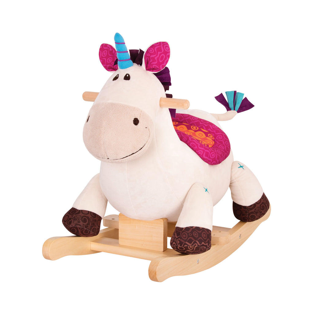 A magical playroom companion rocking horse. Natural hardwood for a classic feel. Perfect for any toddler's nursery or playroom.