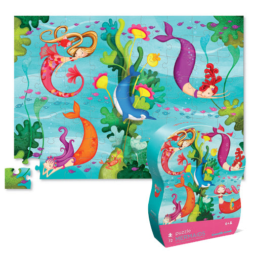 Crocodile Creek Jr. Shaped Box Puzzle Mermaids 72pc quality puzzle for kids eco friendly The Toy Wagon
