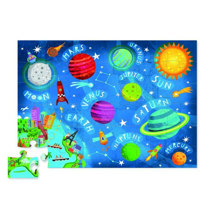 Crocodile Creek Jr. Shaped Box Puzzle Space 72pc - The Toy Wagon
