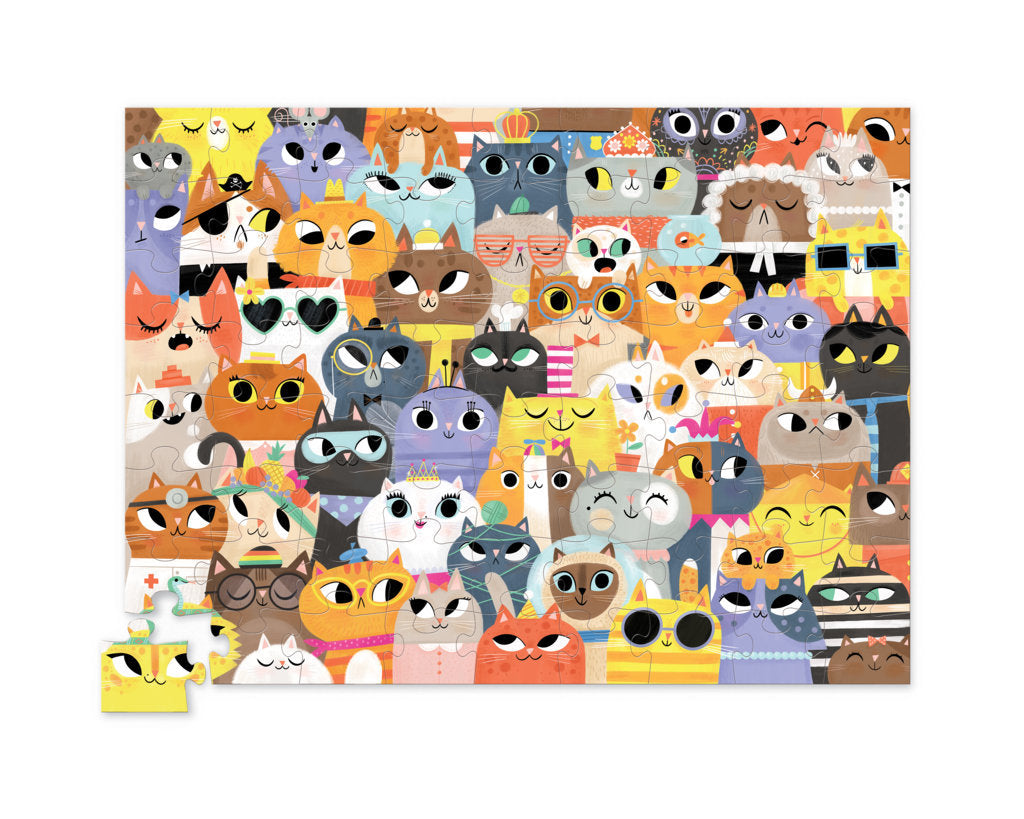 Crocodile Creek Jr. Shaped Box Puzzle Lots of Cats 72pc quality puzzle for kids eco friendly The Toy Wagon