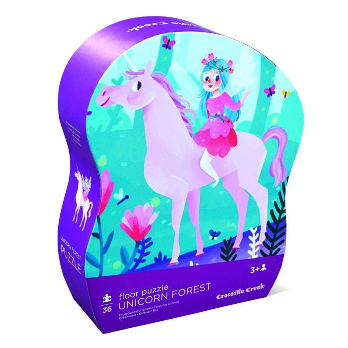 Crocodile Creek Shaped Box Puzzle Unicorn Forest 30-36pc is a High-quality floor puzzle for children.