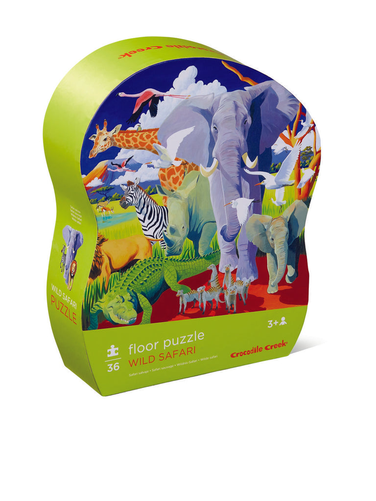 Crocodile Creek Shaped Puzzle Wild Safari 36pc quality puzzle for kids eco friendly The Toy Wagon