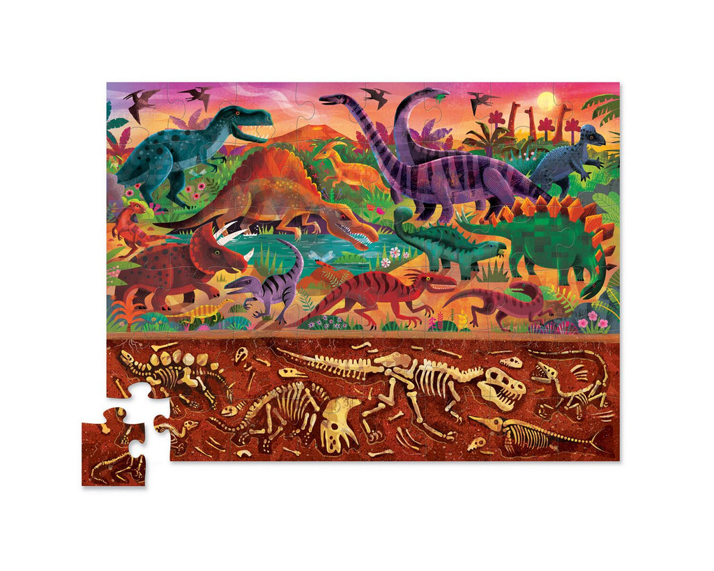 Crocodile Creek Above & Below Dinosaur World 48pc quality puzzle for kids eco friendly The Toy Wagon