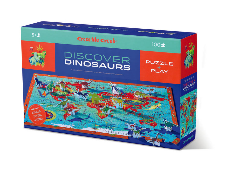 Crocodile Creek Discover Puzzle Dinosaurs 100pc quality puzzle for kids eco friendly The Toy Wagon