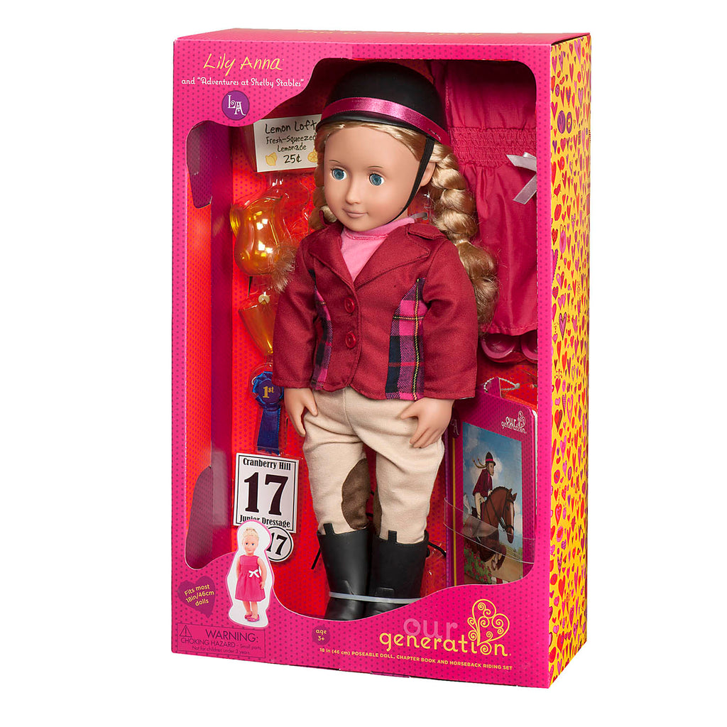 "Our Generation 18"" Deluxe Poseable Doll w Book - Lily Anna is an amazing doll accessory for creative play for young girls The Toy Wagon"
