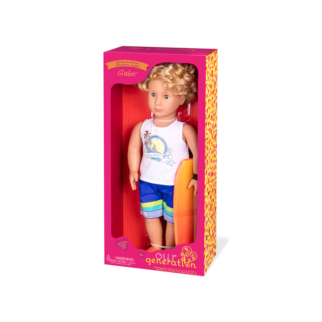 "Our Generation 18"" Regular Doll - Gabe - Surfer Boy is an amazing doll accessory for creative play for young girls The Toy Wagon"