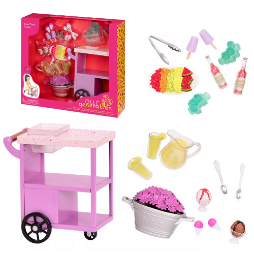 Our Generation Accessory Set Deluxe - Summer Treats Serving Cart is an amazing doll accessory for creative play for young girls The Toy Wagon