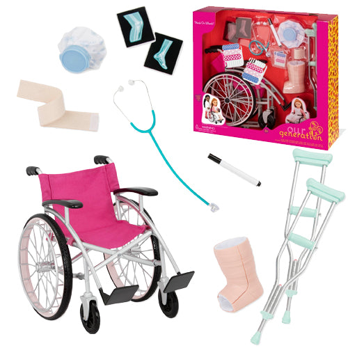Our Generation Accessory Set - Doll Medical Set with Wheelchair is an amazing doll accessory for creative play for young girls The Toy Wagon
