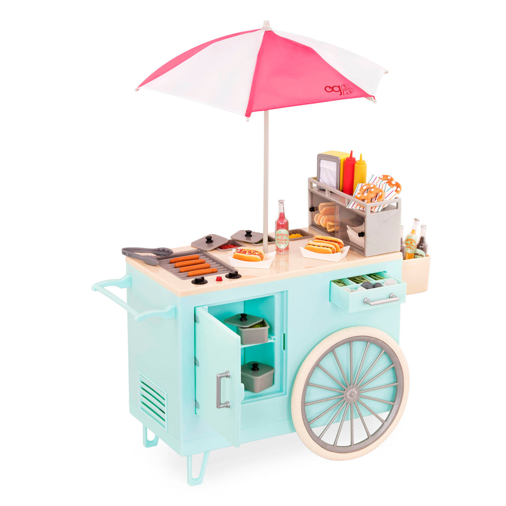 Our Generation Retro Hot Dog Cart is an amazing doll accessory for creative play for young girls The Toy Wagon