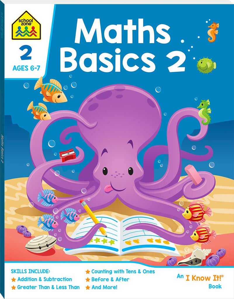 School Zone I know it: Maths Basics 2 educational activity book for kids The Toy Wagon
