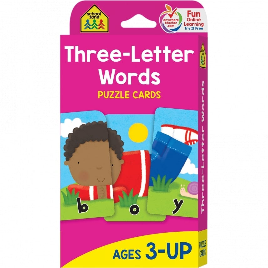 School Zone Flash Cards : Three Letter Words educational activity book for kids The Toy Wagon