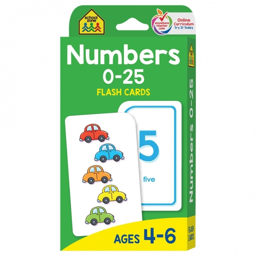 School Zone Flash Cards : Numbers 0-25 educational activity book for kids The Toy Wagon