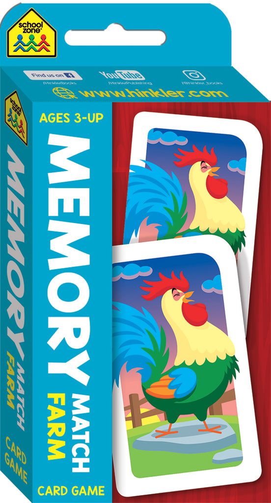 School Zone Card Games: Memory Match Farm educational activity book for kids The Toy Wagon