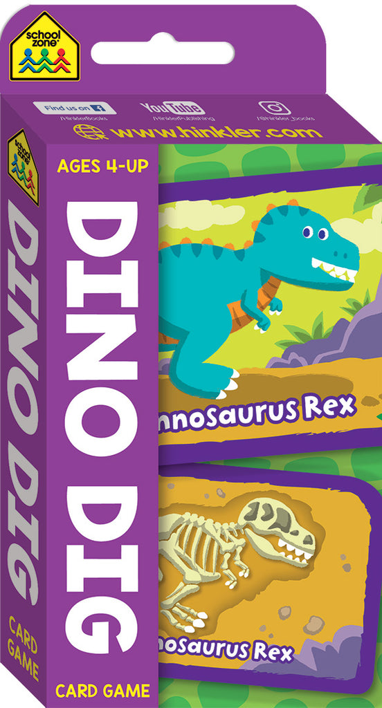 School Zone Card Games: Dino Dig educational activity book for kids The Toy Wagon