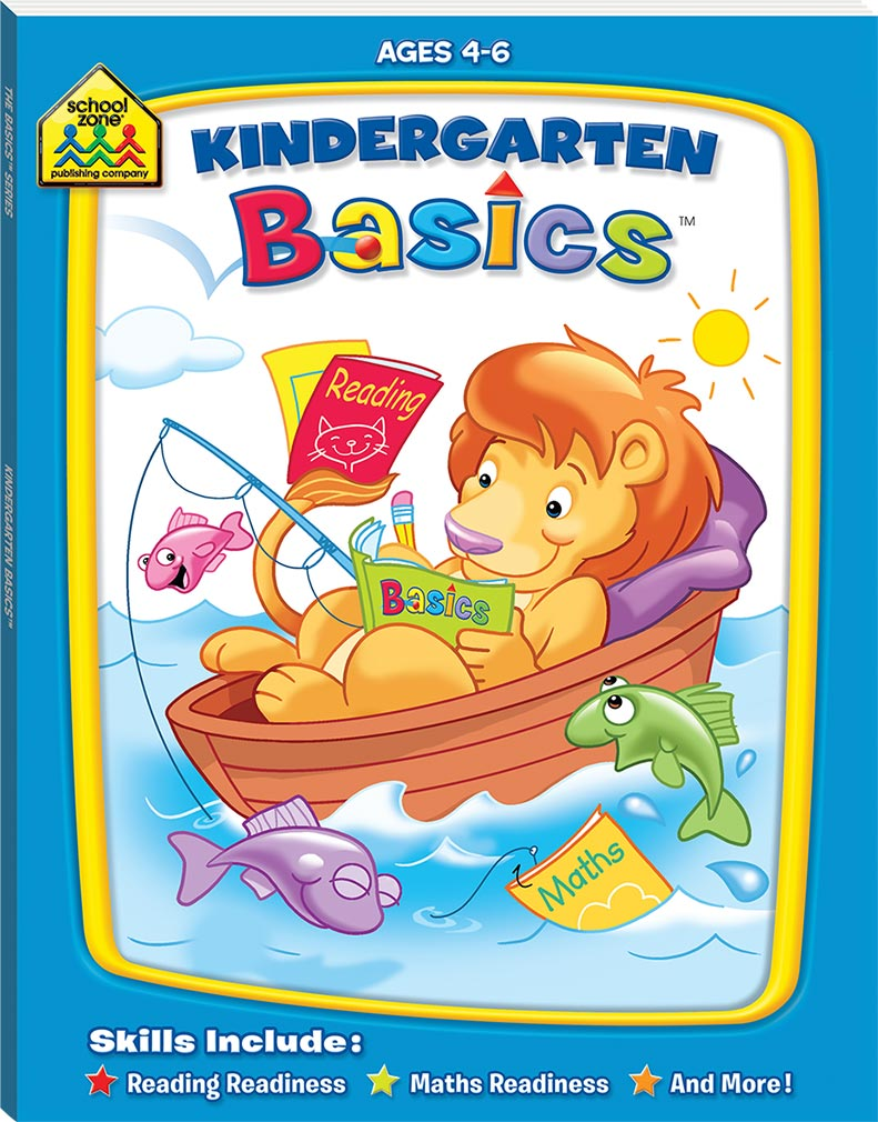 School Zone Basic Deluxe: Kindergarten Basics educational activity book for kids The Toy Wagon