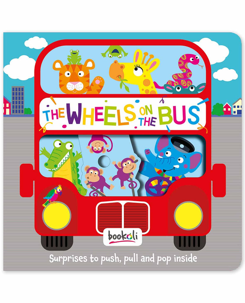 Push, Pull, Pop! Wheels on the Bus baby book The Toy Wagon