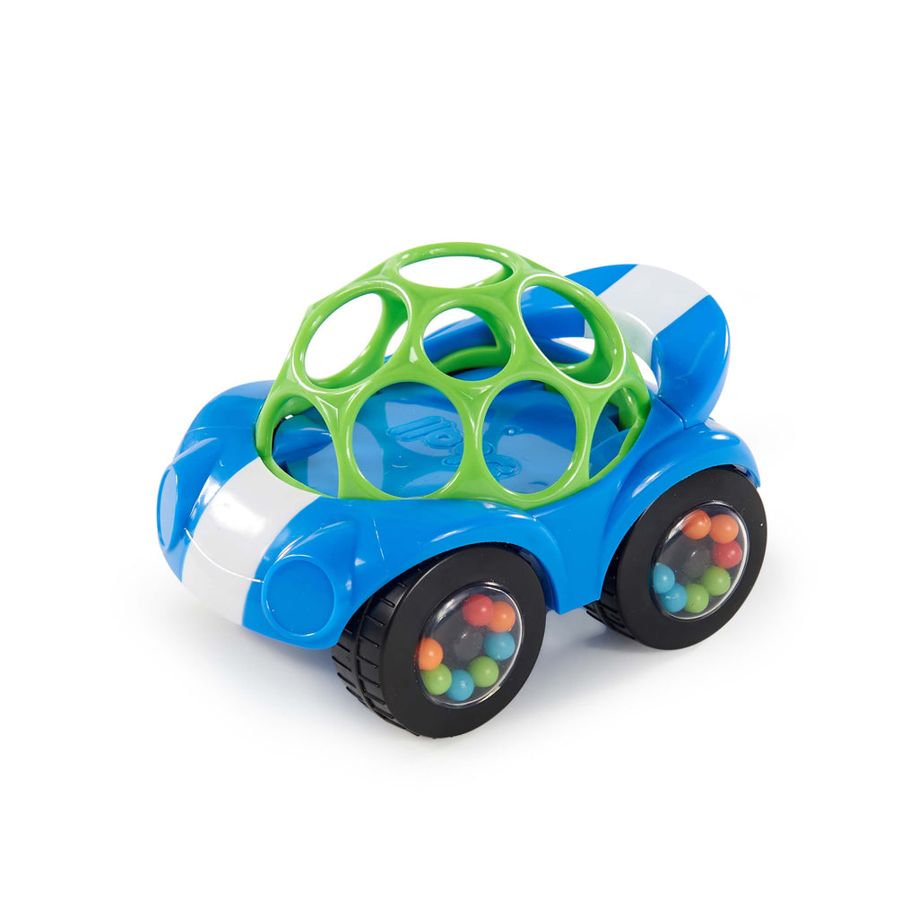 The soft, flexible O Ball Rattle & Roll material feature ample finger holes to make it a snap for baby to grasp and roll!