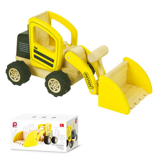 PINTOY Front End Loader high quality wooden toys for kids The Toy Wagon