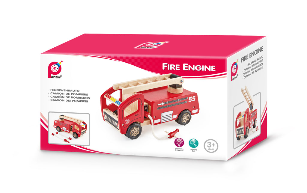PINTOY Fire Engine Small high quality wooden toys for kids The Toy Wagon