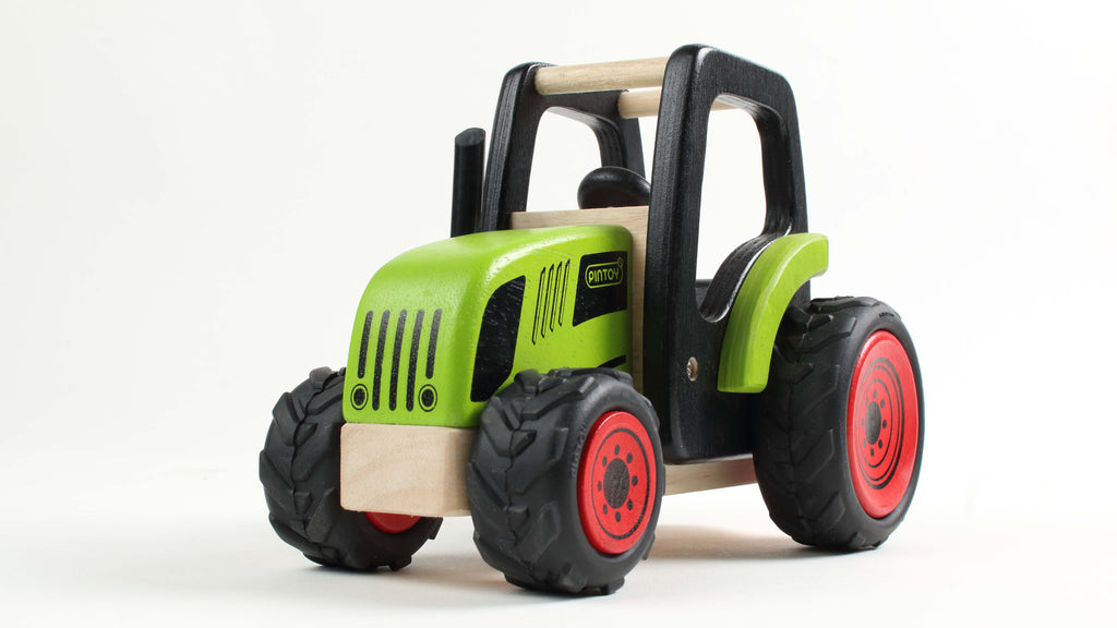 PINTOY Tractor with Trailer high quality wooden toys for kids The Toy Wagon