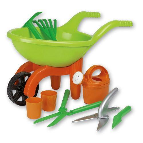 Green Garden Wheel Barrow Garden Set is a great accessory to have for winter and summer water and gardening play.