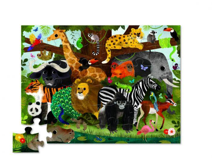 Crocodile Creek Shaped Box Puzzle Jungle Friends 36pc - The Toy Wagon