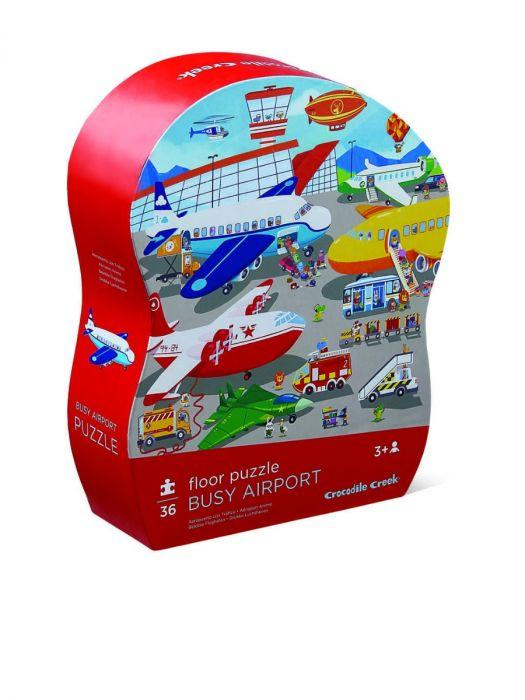 Crocodile Creek Shaped Box Puzzle Busy Airport 36pc - The Toy Wagon