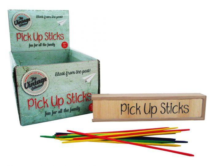 Pick up sticks in a vintage wooden box are great for rainy days in doors!
