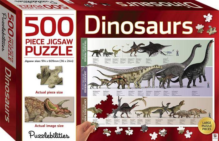Puzzlebilites Dinosaur 500pc will help your kids minds and your puzzles skills.