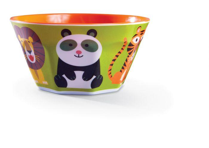 Crocodile Creek Melamine Bowl Jungle Jamboree has bright bold colours that are sure to make meal times fun for littlies.