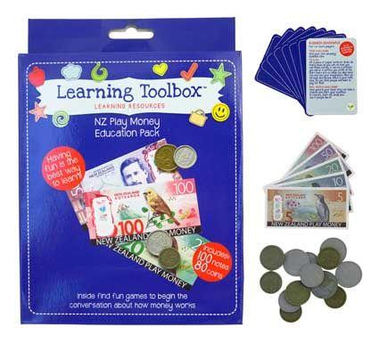 Identify the different colours and sizes of the New Zealand currency with this play money box set.