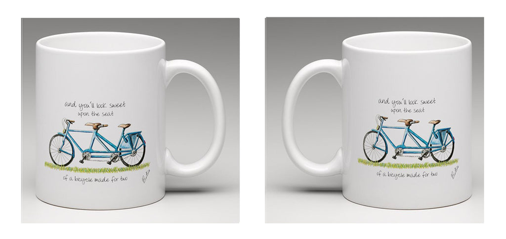 Ceramic Mug with beautiful hand drawn tandem bicycle by Bootsie
