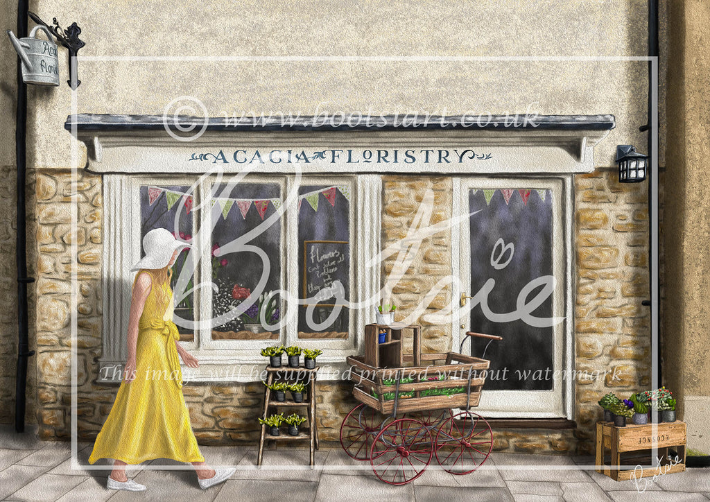 Hand drawn illustration of Arcacia Floristry, florist's shop in the Cotswold town of Malmesbury