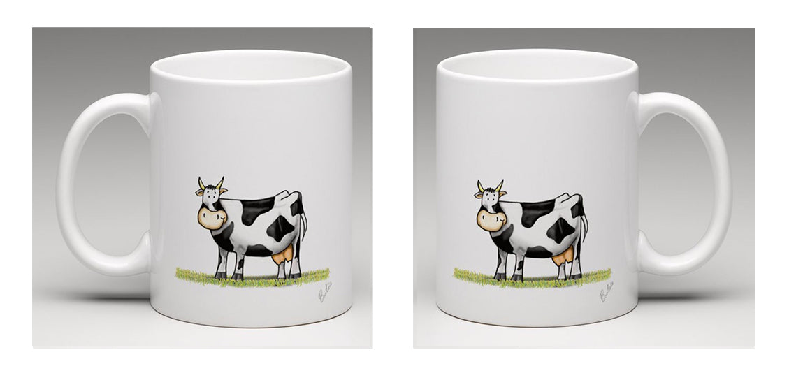 Ceramic mug with a beautifully hand drawn illustration of a cow, by Bootsie