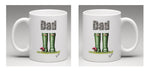 Ceramic Mug with beautifully illustrated welly boots and the word Dad, by Bootsie
